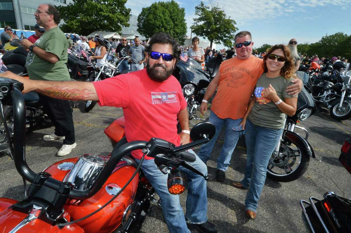 Stratford's Jorge Oliveras and wife Debi and friend Chris Crego from Milford ready for the CT United Ride, Connecticut?'s largest 9/11 tribute ?- a 60 mile motorcade through Faifield County starting at Norden Park in Norwalk Conn. on Sunday September 11, 2016 and ending at Seaside Park in Bridgeport