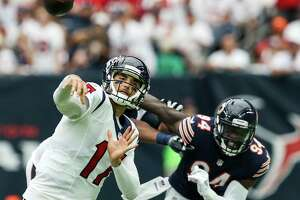 Houston Texans quarterback Brock Osweiler (17) throws a pass against the Chicago Bears during the second quarter of an NFL football game at NRG Stadium on Sunday, Sept. 11, 2016, in Houston.