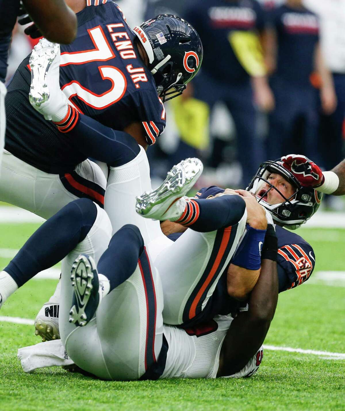 Chicago Bears quarterback Jay Cutler (6) is sacked by Houston Texans outside linebacker Whitney Mercilus during the second quarter of an NFL football game at NRG Stadium on Sunday, Sept. 11, 2016, in Houston.