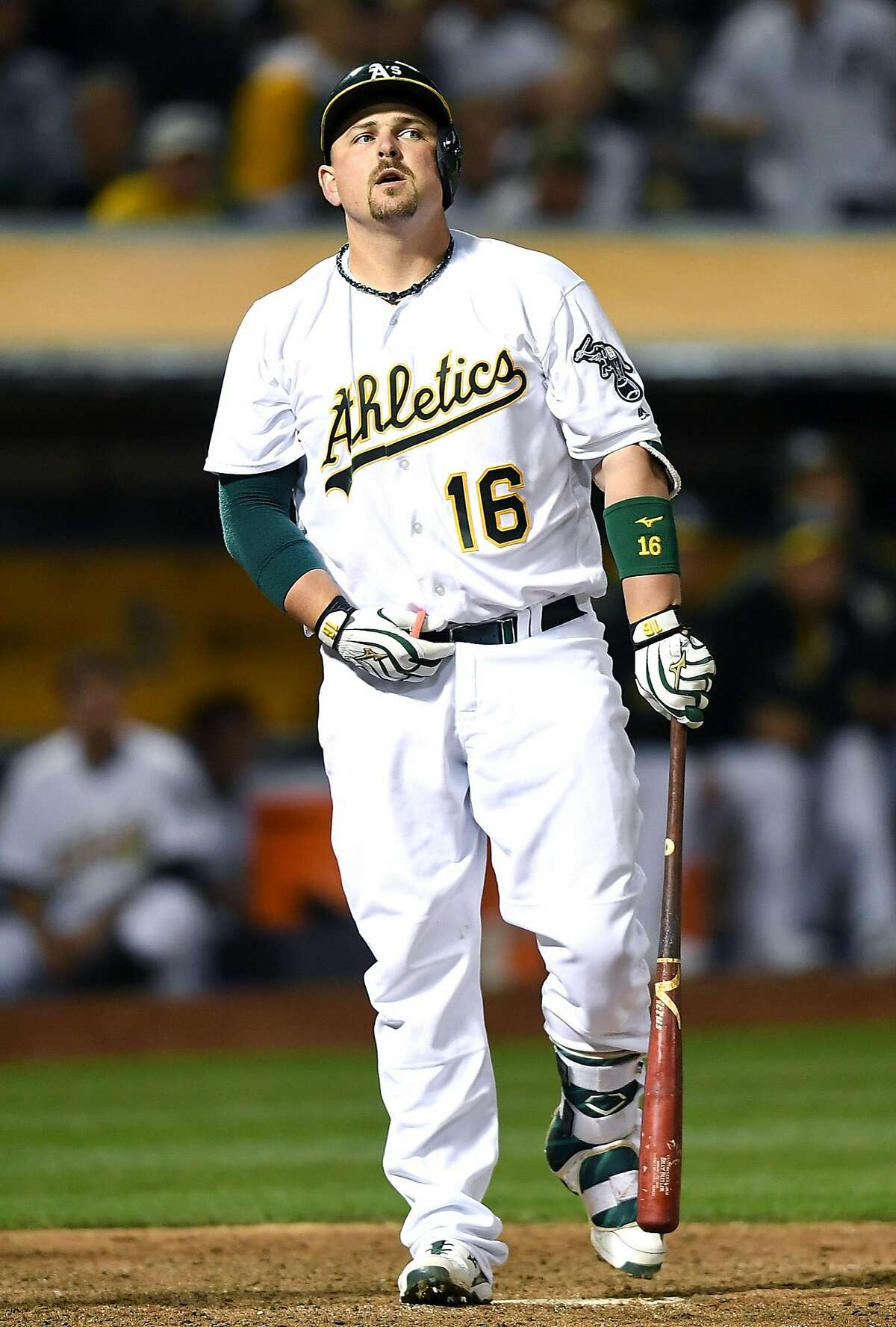 OAKLAND, CA - MAY 27: Billy Butler #16 of the Oakland Athletics reacts after he struck out swinging against the Detroit Tigers in the bottom of the eighth inning at O.co Coliseum on May 27, 2016 in Oakland, California. (Photo by Thearon W. Henderson/Getty Images)