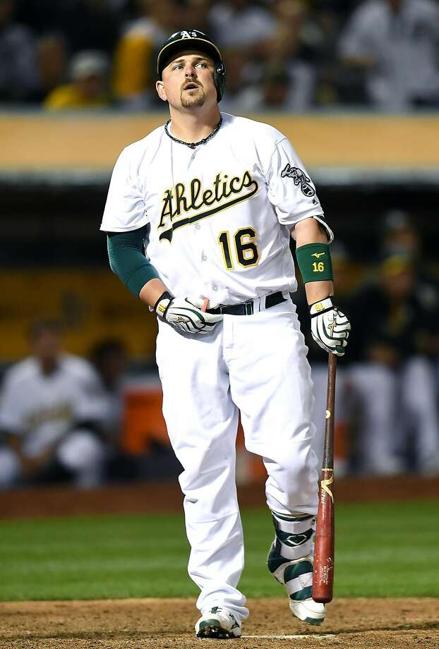 OAKLAND, CA - MAY 27:  Billy Butler #16 of the Oakland Athletics reacts after he struck out swinging against the Detroit Tigers in the bottom of the eighth inning at O.co Coliseum on May 27, 2016 in Oakland, California.  (Photo by Thearon W. Henderson/Getty Images) Photo: Thearon W. Henderson, Getty Images