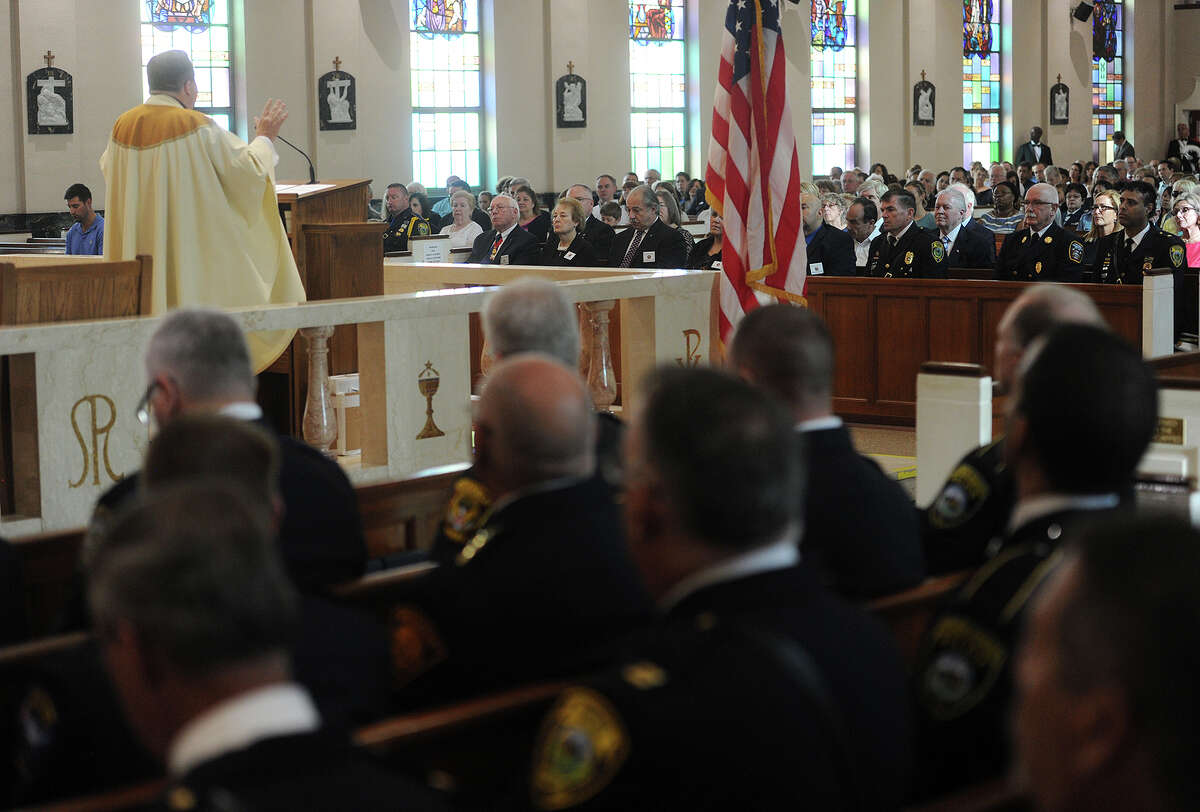 The annual Diocesan Blue Mass held this year at St. Thomas Aquinas Church in Fairfield, Conn. on Sunday, September 11, 2016. The mass in honor of members of law enforcement, fire, and emergency services personnel has been held at a different church in the diocese every year since the September 11, 2001 attacks.
