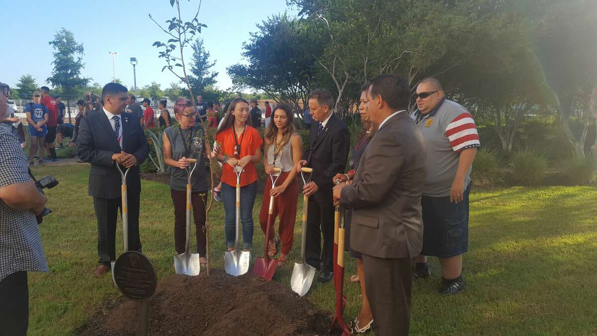 Area first responders, military members and local dignitaries gathered for a 9/11 memorial tree-planting ceremony at Texas A&M University-San Antonio Sunday, Sept. 11, 2016. The school also hosted a visual exhibit with photos, sculptures, and memorabilia from first responders who died during the response to the damage caused by the terror attacks.