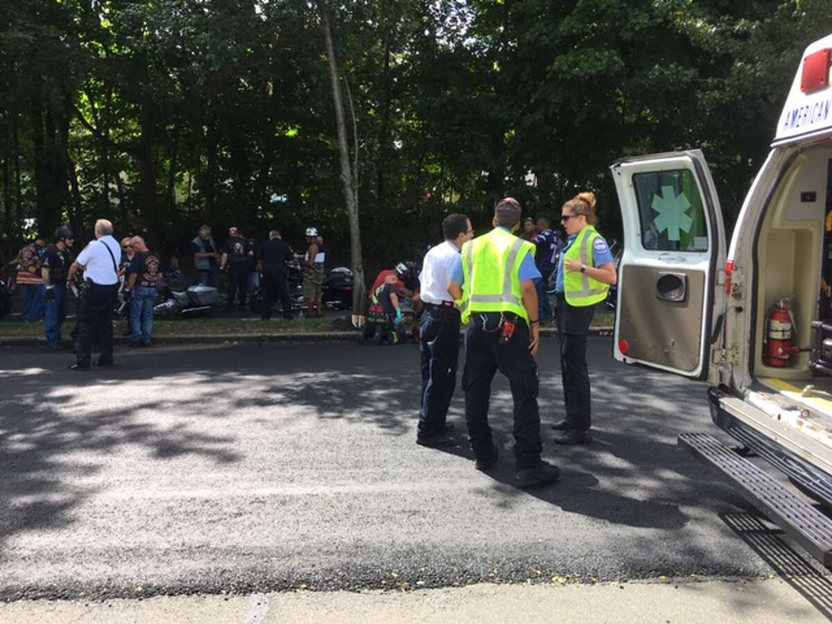 A motorcycle crash in Fairfield Sunday afternoon during the annual CT United Ride to remember the 9/11 tragedy backed up the procession, startled onlookers and caused minor injuries.