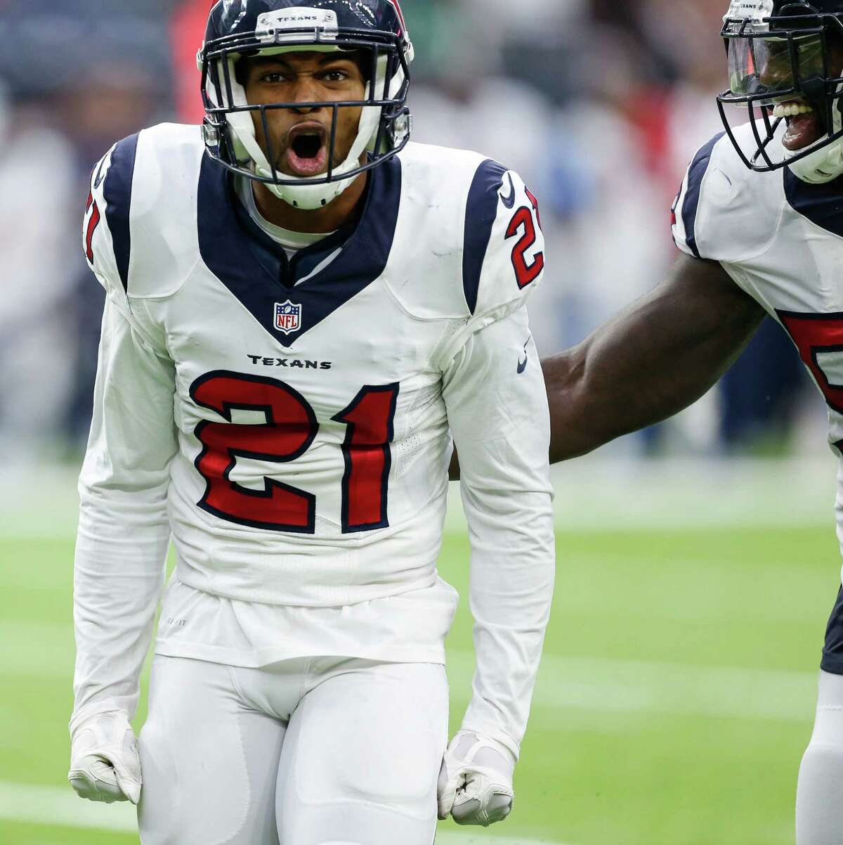 Houston Texans cornerback A.J. Bouye (21) celebrates after sacking Chicago Bears quarterback Jay Cutler (6) during the fourth quarter of an NFL football game at NRG Stadium on Sunday, Sept. 11, 2016, in Houston.