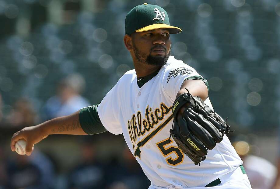 OAKLAND, CA - SEPTEMBER 11: Raul Alcantara #50 of the Oakland Athletics pitches against the Seattle Mariners in the top of the first inning at Oakland-Alameda County Coliseum on September 11, 2016 in Oakland, California. (Photo by Thearon W. Henderson/Getty Images) Photo: Thearon W. Henderson, Getty Images