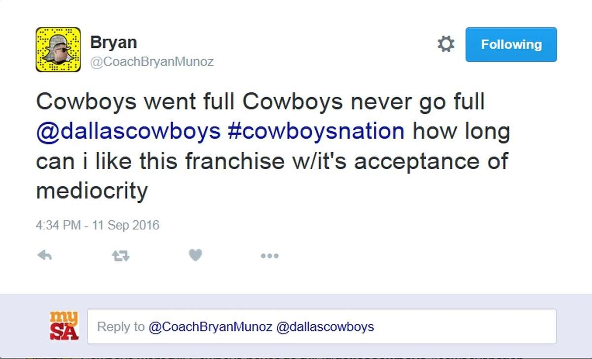 Cowboys fans vent their frustration on Twitter after opening day loss Sunday, Sept. 11, 2016.