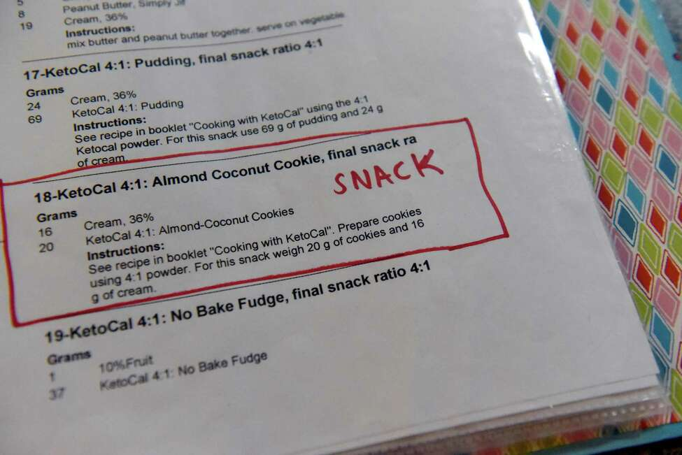 Recipes in 9-year-old Sammy Meyers notebook on Thursday, Sept. 8, 2016, at his home in Latham, N.Y. Sammy has eliminated his epileptic seizures by following a strict high-fat, low-carb diet. (Cindy Schultz / Times Union)