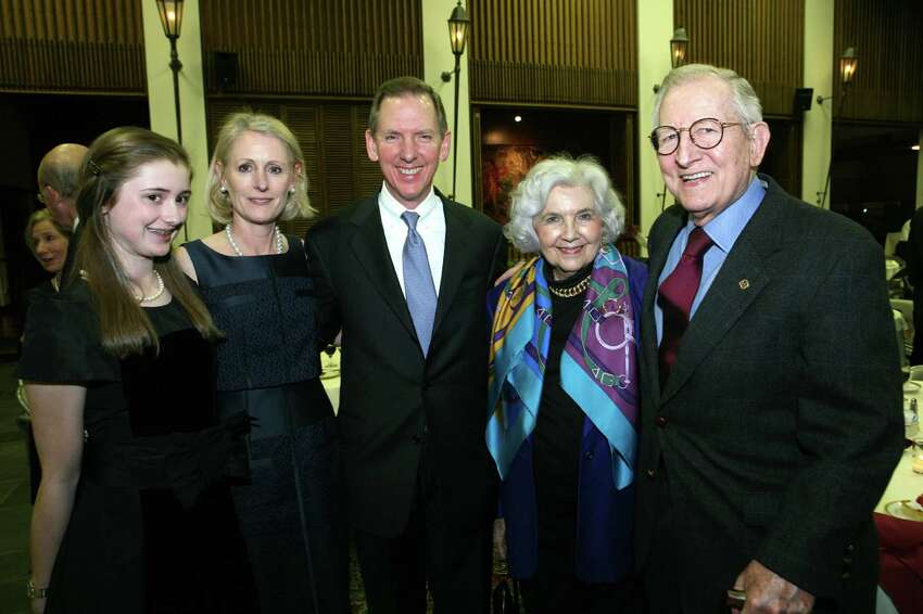 Shelby Butt (Daughter to Stephen and Susan), Susan Butt (Spouse to Stephen), Stephen Butt (Honoree), Barbara Butt and Howard Butt (Parents to Stephen) were at the Alumni Awards Dinner on 1/28/2011 at Trinity University.