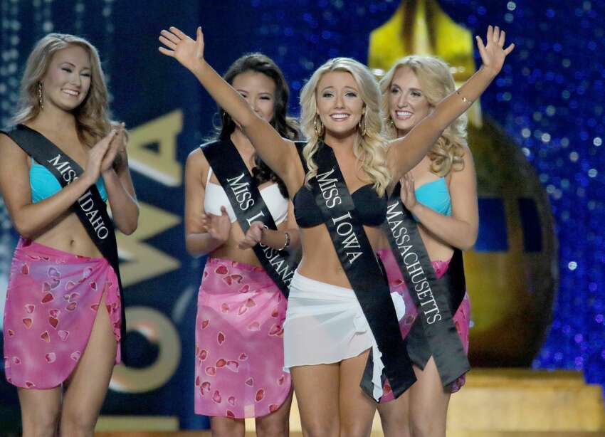 Miss Iowa Kelly Koch appears onstage during the 2017 Miss America Competition at Boardwalk Hall Arena on September 11, 2016 in Atlantic City, New Jersey.