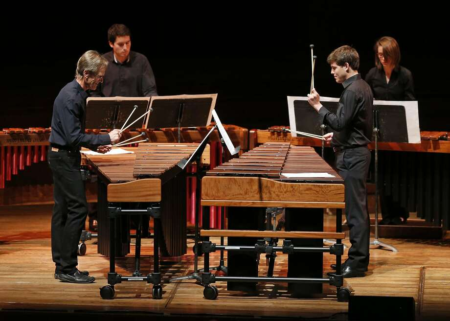 "Jack Van Geem (left) and Jacob Nissly perform in ""Six Marimbas"" during the Steve Reich tribute. Photo: Scott Strazzante, The Chronicle"