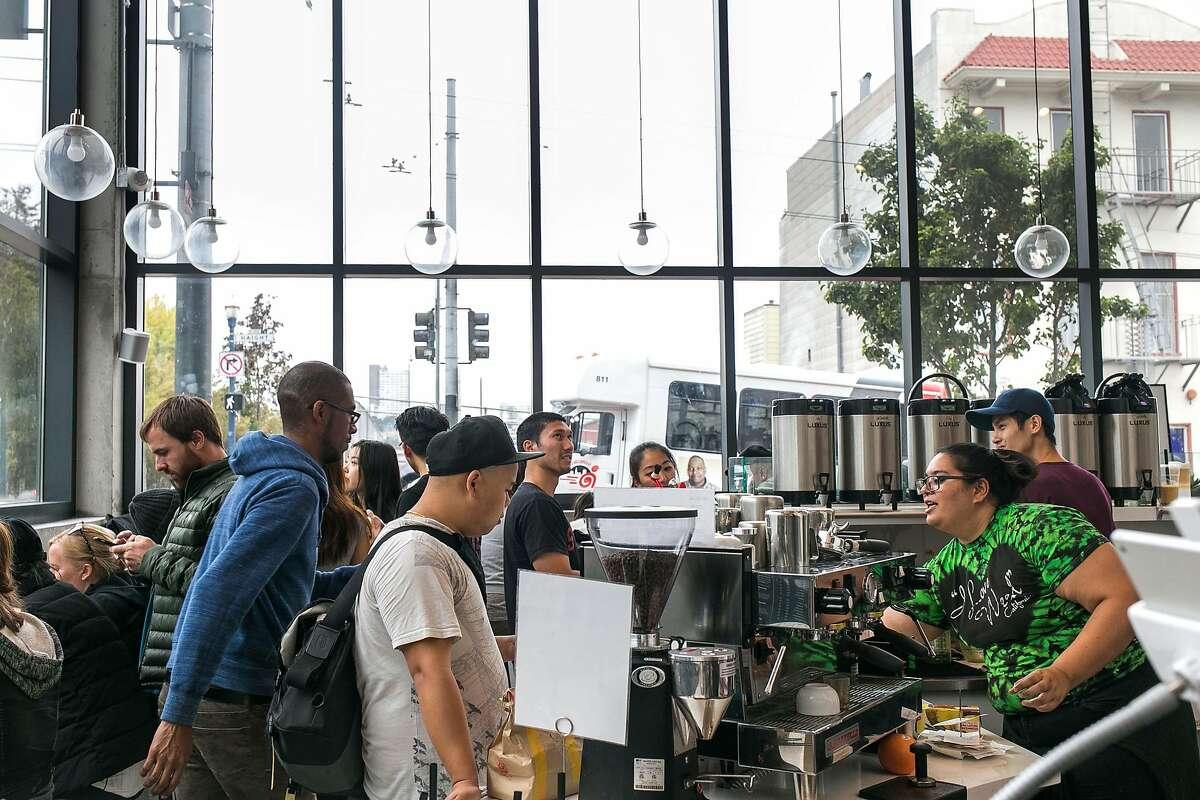 Amber Kakepoto serves drinks at Boba Guys in S.F.