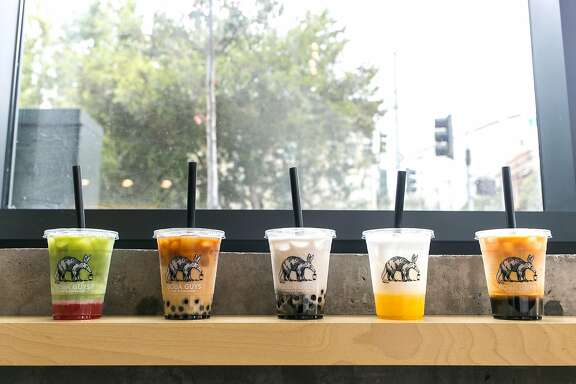 A variety of teas from Boba Guys in S.F.. From left: Strawberry Matcha, Dirty Horchata, Black Sesame, Mango Coconut, and Classic Milk Tea.