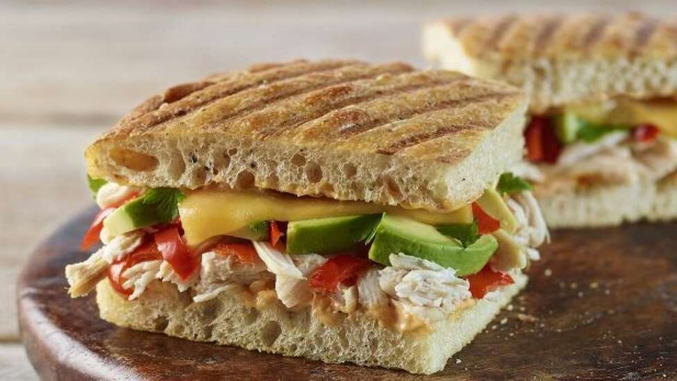 Panera Bread : Chipotle Chicken Avocado Melt on Black Pepper Focaccia (whole portion) Calories: 770 Total fat: 43g