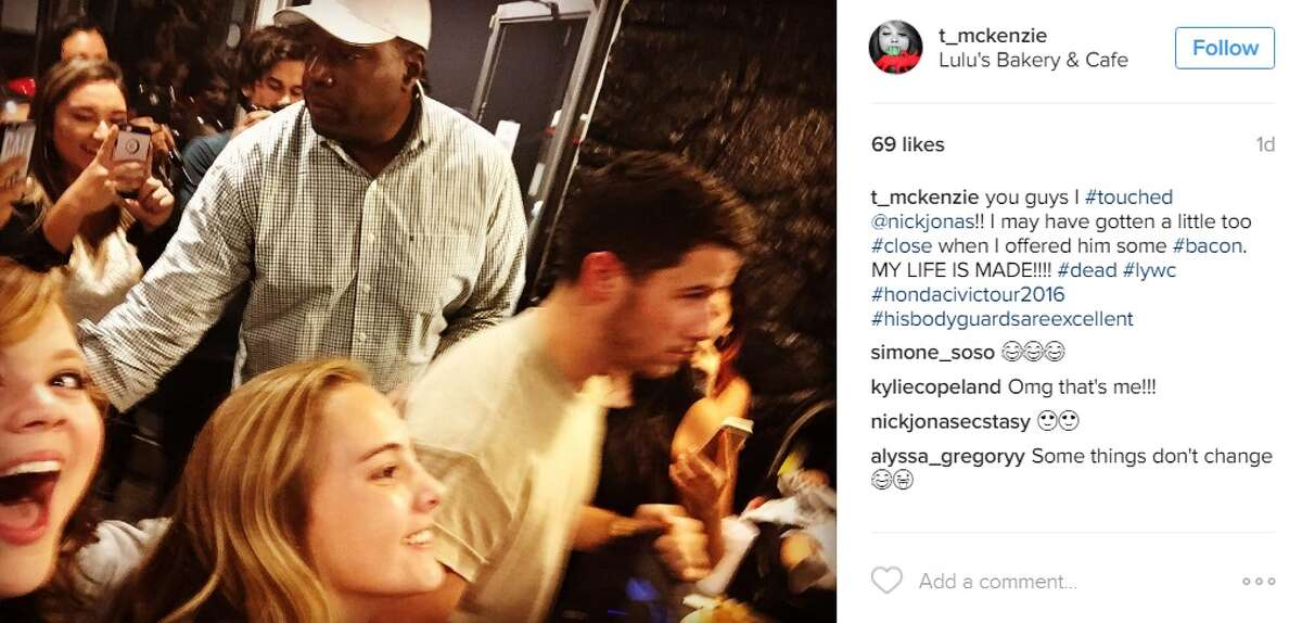 """""""you guys I #touched @nickjonas!! I may have gotten a little too #close when I offered him some #bacon. MY LIFE IS MADE,"""" @t_mckenzie."""