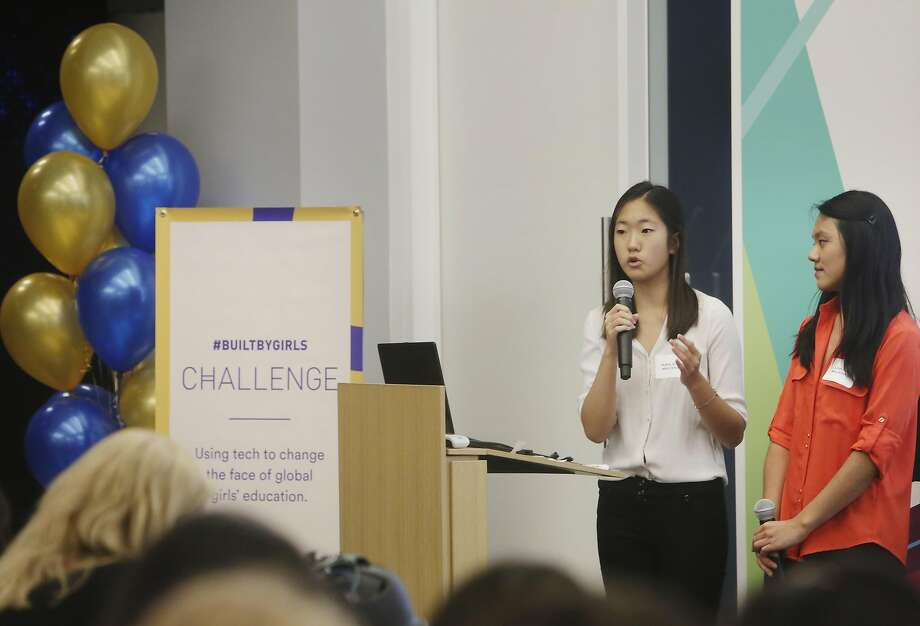 Kathy Kong (left) and Lillian Yuan give their pitch about Tara, which will focus on helping migrant girls in Cambodia, during the Let Girls Build competition. Photo: Lea Suzuki, The Chronicle