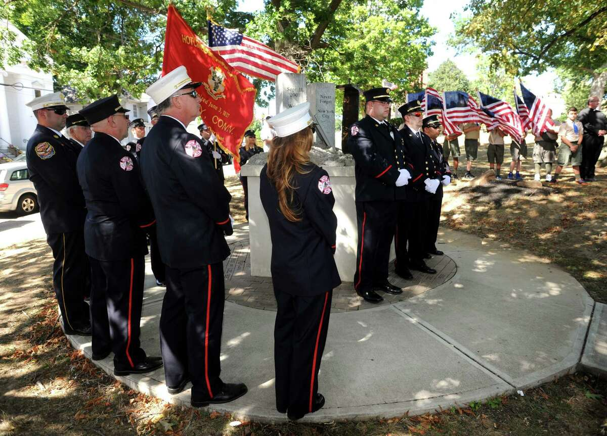 A memorial service to remember the 2001 terrorist attacks was held at the Derby's 9/11 monument on the green on Sunday, Sept. 11, 2016, the 15th anniversary of the tragic events. The service was hosted by the Derby Fire Department.