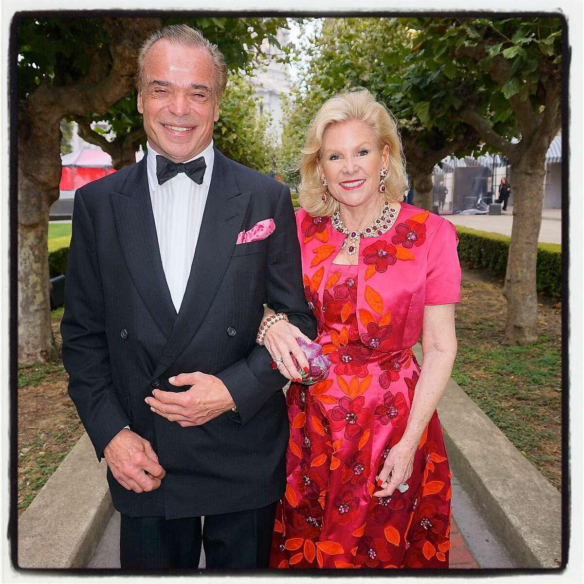 Oscar de la Renta exec Boaz Mazor and Opera Opening Weekend Grand Sponsor Dede Wilsey at the SF Opera Ball. Sept 2016.