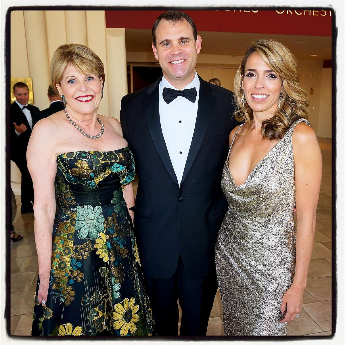 SFS Gala committee member Dagmar Dolby (left) with her son, David Dolby and his wife, committee member Natasha Dolby, at Davies. Sept 2016.