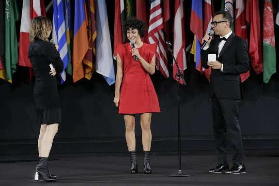 NEW YORK, NY - SEPTEMBER 11:  Carrie Brownstein, Alia Shawkat, and Fred Armisen speak onstage during the Opening Ceremony fashion show during New York Fashion Week at Jacob Javits Center on September 11, 2016 in New York City.  (Photo by JP Yim/Getty Images)