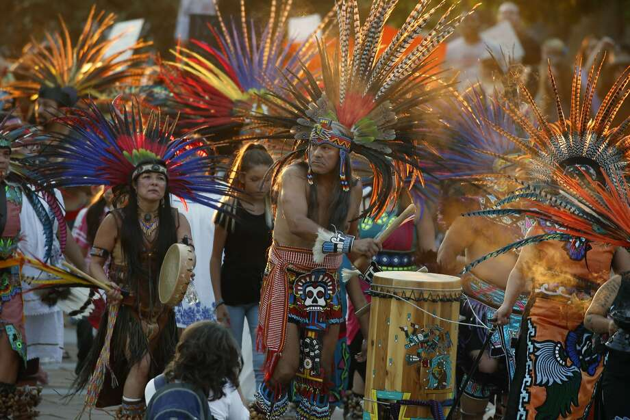 Native Americans head to a rally at the State Capitol in Denver, Colo., Thursday, Sept. 8, 2016, to protest in solidarity with members of the Standing Rock Sioux tribe in North Dakota over the construction of the Dakota Access oil pipeline. The tribe argues that the pipeline, which crosses four states to move oil from North Dakota to Illinois, threatens water supplies and has already disrupted sacred sites. (AP Photo/David Zalubowski) Photo: David Zalubowski, Associated Press