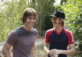 "This image released by Paramount Pictures shows Blake Jenner, left, and Austin Amelio in ""Everybody Wants Some."" (Van Redin/Paramount Pictures and Annapurna Pictures via AP)"