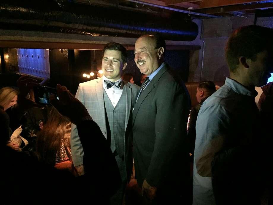 "Justin Jones, left, greetsBruce Agid, president of the South Beach District 6 Democratic Club, at last week's ""Robert F. Kennedy Democratic Club"" kick-off Photo: Beth Spotswood"