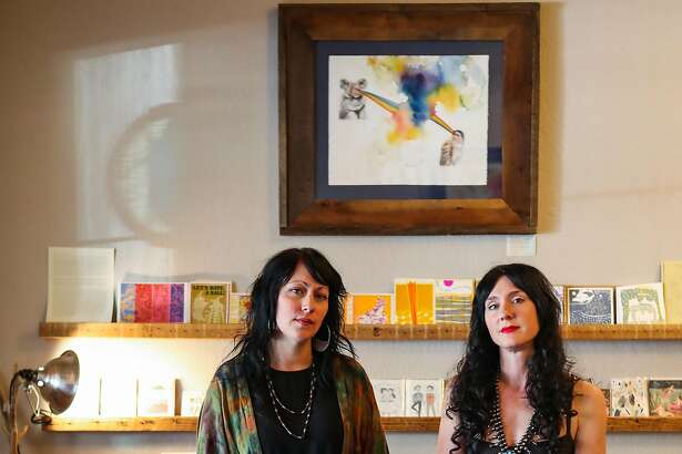 (l-r) Store owners Kira Westly and Carrie Hawthorne stand for a portrait in their store Kitkitdizzi, in Nevada City, California, on Thursday, Sept. 1, 2016.