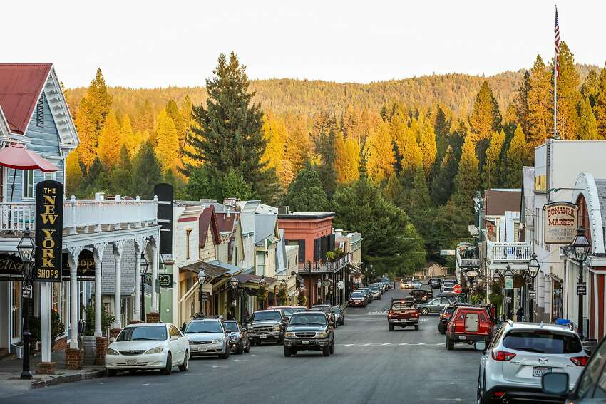 A view of Broad Street is seen at sunset in downtown Nevada City, California, on Monday, Sept. 5, 2016.