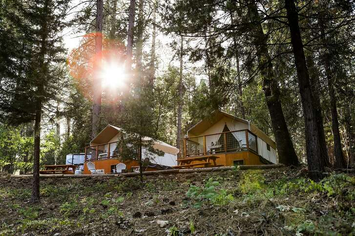Glamping tents are seen at sunset at the Inn Town Campground, in Nevada City, California, on Sunday, Sept. 4, 2016.