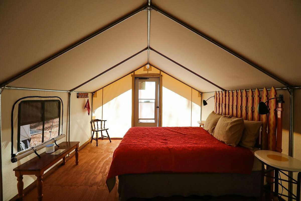 """The """"Bacon and Eggs"""" glamping tent is seen at the Inn Town Campground, in Nevada City, California, on Monday, Sept. 5, 2016."""