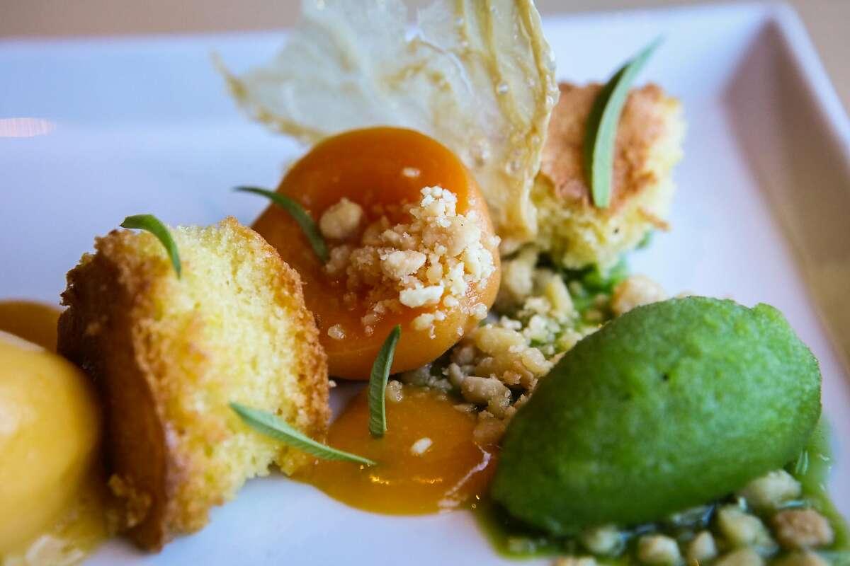 The Crispy Yuba, Frog Hollow Farm Apricot, Almond, and Lemon Verbena desert is seen at Trokay restaurant in Truckee, California, on Friday, Sept. 2, 2016.