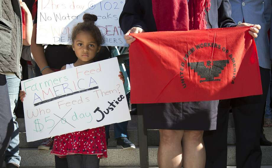 Camila Cortez, 4, the granddaughter of a farmworker, joins others at an August rally in Sacramento calling for passage of a bill requiring farmworkers to receive overtime after working eight hours. Gov. Jerry Brown signed the bill Monday, Sept. 12. Photo: Rich Pedroncelli, Associated Press