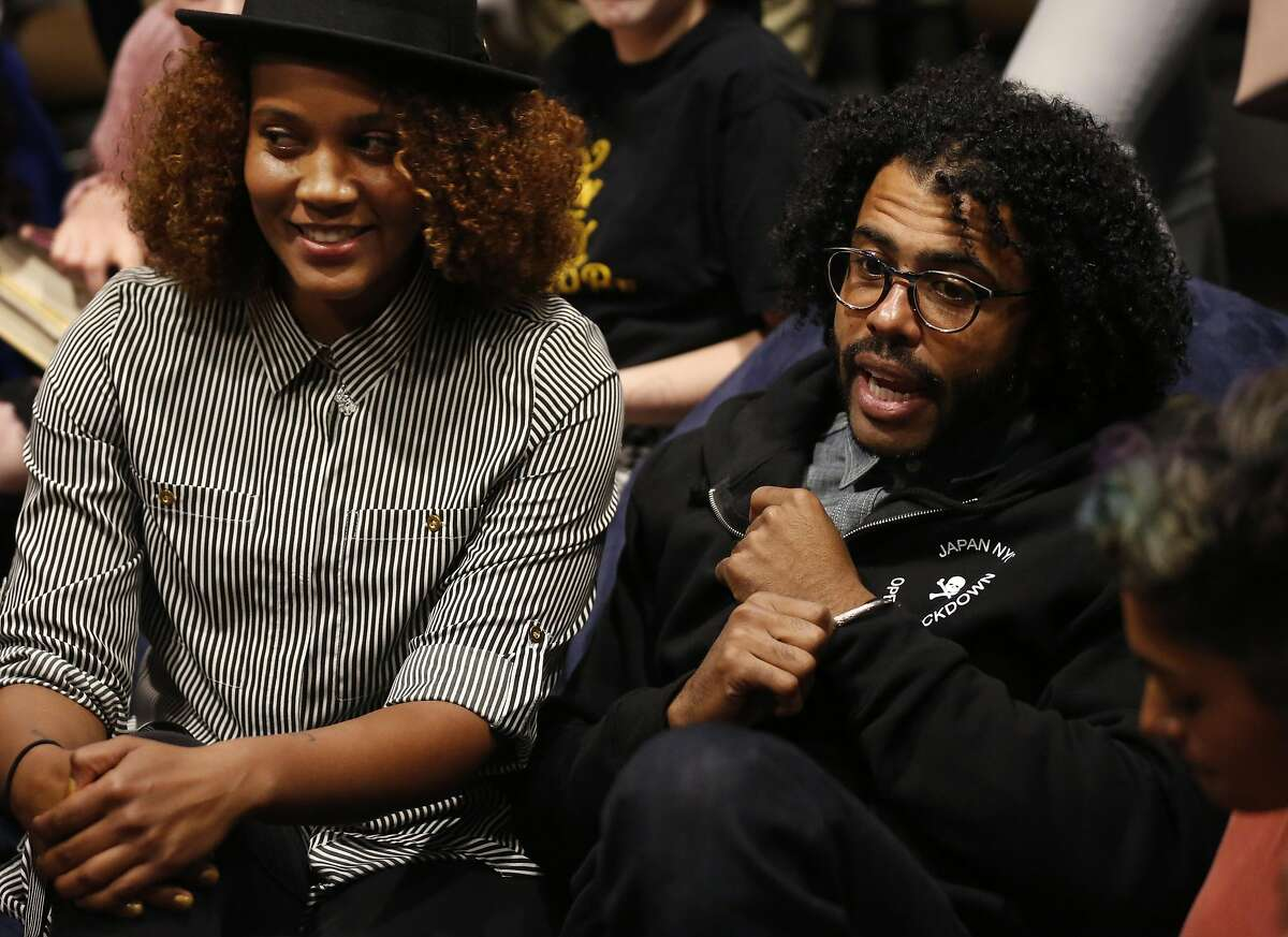 Hamilton star Daveed Diggs, right, and Poetry Slam alum Chinaka Hodge answer question from a group of young people in the teen center during a poetry slam-themed evening featuring Diggs at the Jewish Community Center of San Francisco Sept. 10, 2016 in San Francisco, Calif.