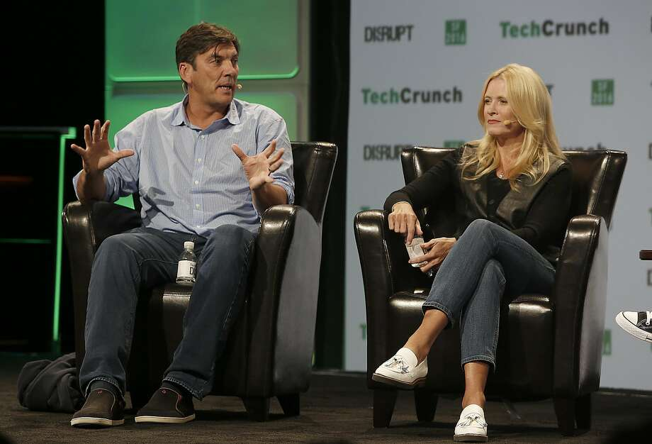 Verizon's Marni Walden speaks with AOL CEO Tim Armstrong at September's TechCrunch Disrupt in San Francisco. Photo: Liz Hafalia, The Chronicle