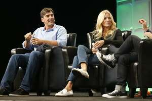 AOL's CEO Tim Armstrong and Verizon's Marni Walden speak at TechCrunch Disrupt on Monday, September 12, 2016, in San Francisco, Calif.