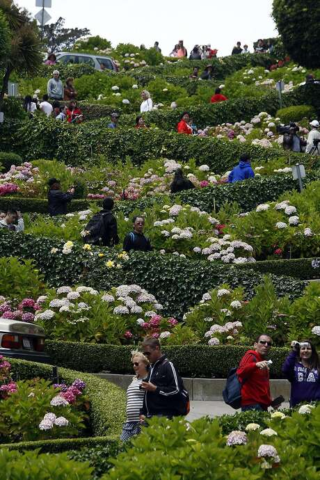 Yes, the tourist hordes disrupt the lives of the folks who live on Lombard Street. Photo: Michael Short, The Chronicle