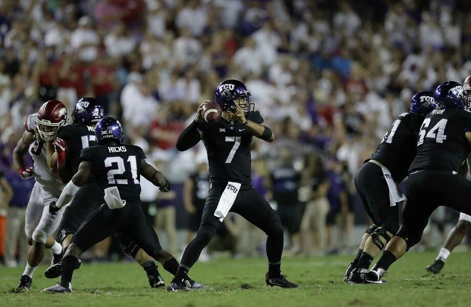 FORT WORTH, TX - SEPTEMBER 10:  Kenny Hill #7 of the TCU Horned Frogs throws against the Arkansas Razorbacks in the second half at Amon G. Carter Stadium on September 10, 2016 in Fort Worth, Texas. Photo: Ronald Martinez, Getty Images / 2016 Getty Images