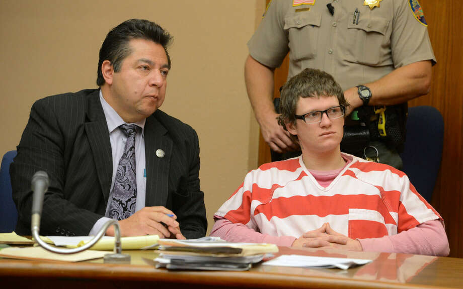 Defendant Morrison Lampley, right, sits with his attorney Pedro Oliveros, left, during a hearing in Marin Superior Court in San Rafael, Calif. on Tuesday, May 9, 2016. Lampley is among the defendants charged with the murder of a Marin County man in Fairfax and a Canadian backpacker in San Francisco last year. A judge on Monday rejected an attempt by Lampley's attorney to bar members of the media from covering portions of next week's preliminary hearing. Photo: Alan Dep / Marin Independent Journal Via AP, Pool / /