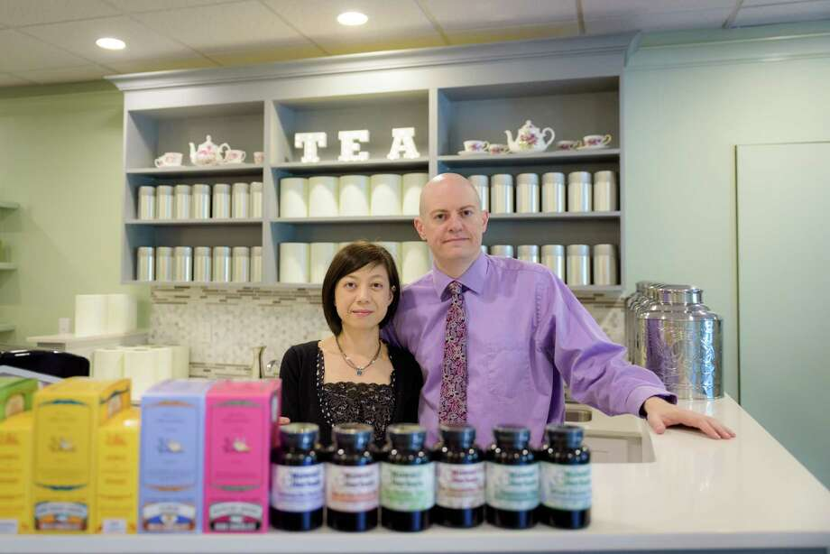 Husband and wife, Shu-Chuan Chen and Alexander Higle, recently opened a tearoom, Culture Tea, in Wilton. Photo: Kyle Michael King / For Hearst Connecticut Media / Hearst Connecticut Media Group Freelance