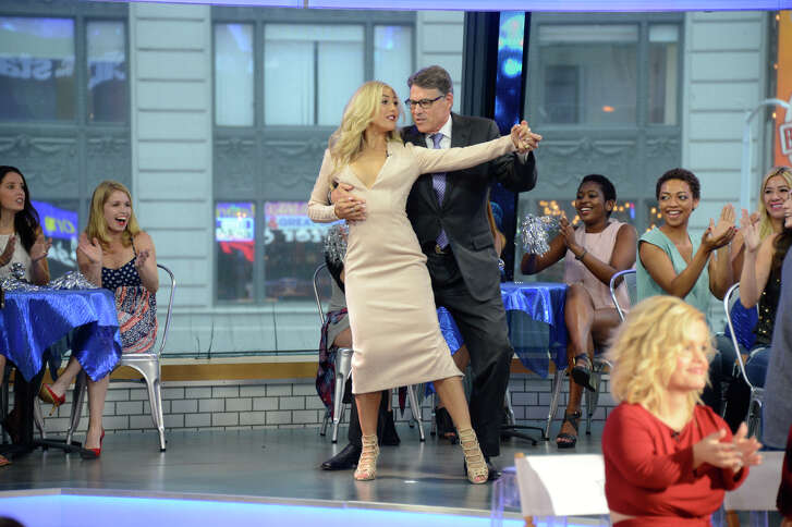 """""""Dancing with the Stars"""" contestants, which include (pictured) former Gov. Rick Perry and pro dancer Emma Slater, appear on """"Good Morning America,"""" 9/7/16, airing on the ABC Television Network."""