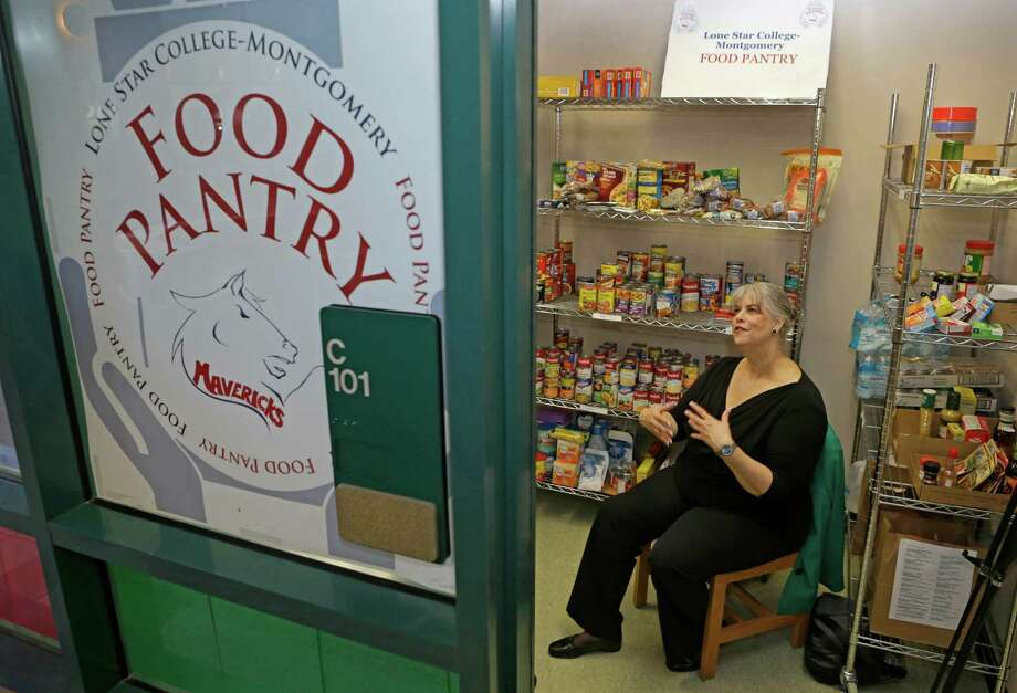 Lone Star College-Montgomery psychology professor Karen Buckman helped start the school's food pantry in September 2015. Most donations to the food pantry come from faculty and students. Photo: Melissa Phillip, Staff / © 2016 Houston Chronicle
