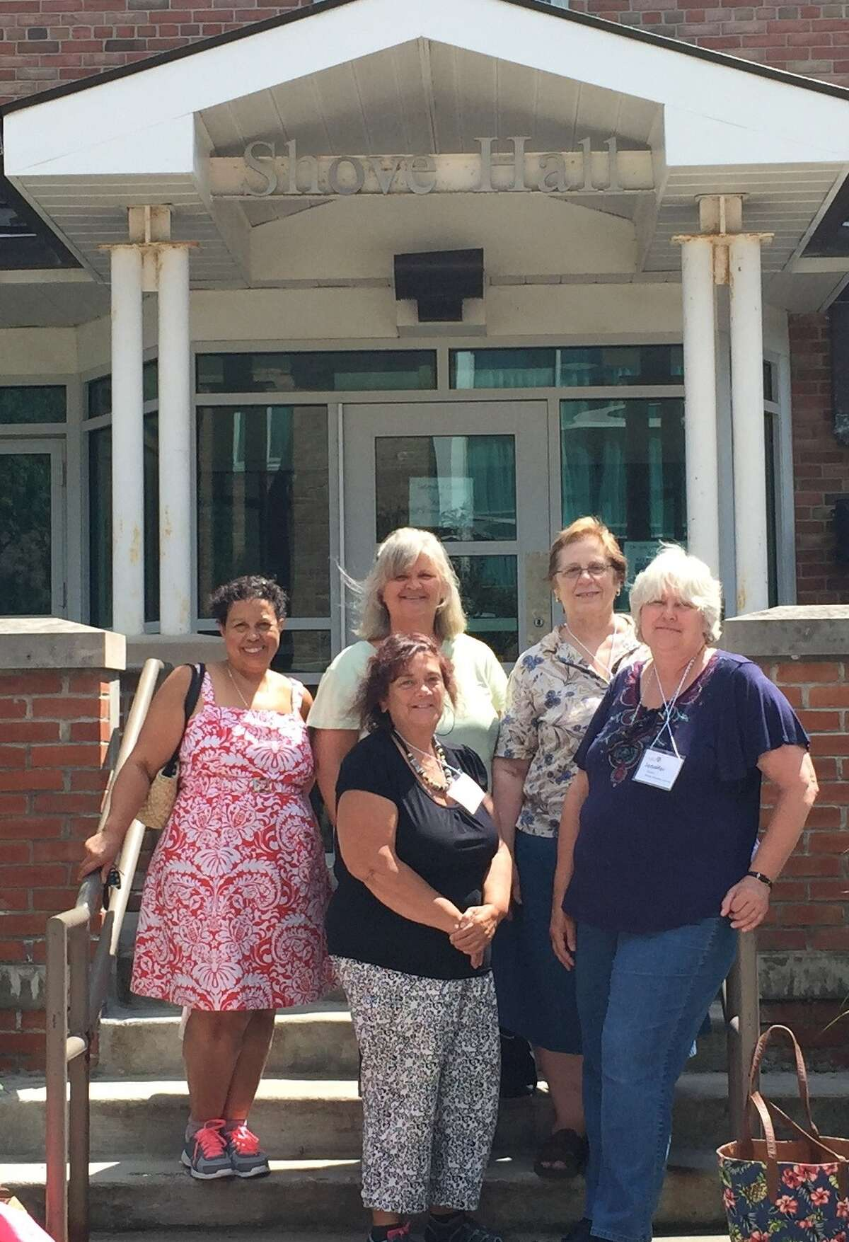 Amsterdam-Gloversville-Johnstown AAUW members recently attended the NYS AAUW Summer Conference at Cazenovia College. The conference focused on how branches can build leadership and program for success. Pictured by Shove Hall, the dormitory where they stayed, are Irene Collins, Ella Ryder, Darcelle Winchell, Paula Lerner and Jennifer Garren. (Submitted photo)