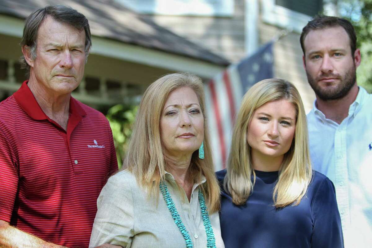 Mike Campbell IV, Becky Campbell, Courtney Campbell and Mike Campbell V, reflect on Collin Campbell, Monday, Sept. 12, 2016, in The Woodlands. Collin died Sunday morning during the swimming portion of a half-triathlon on Lake Livingston.