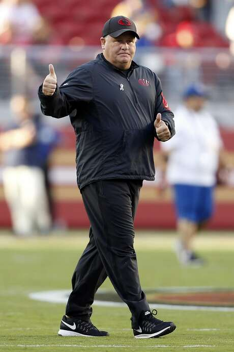 49ers head coach Chip Kelly gives the thumbs-up sign before Monday night's game against the Los Angeles Rams at Levi's Stadium — a sign of things to come before his team's xx-xx victory. Photo: Scott Strazzante, The Chronicle
