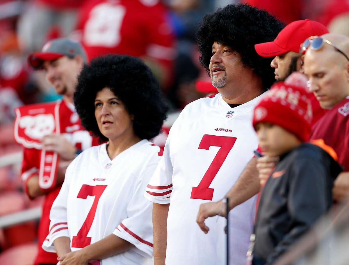 San Francisco 49ers' fans Jennifer and Marvin Roca of Petaluma came dressed as Colin Kaepernick to game against Los Angeles Rams at Levi's Stadium in Santa Clara, Calif., on Monday, September 12, 2016.