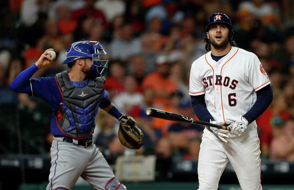 Houston Astros Jake Marisnick (6) reacts after striking out during the third inning of an MLB game at Minute Maid Park, Monday, Sept. 12, 2016 in Houston.