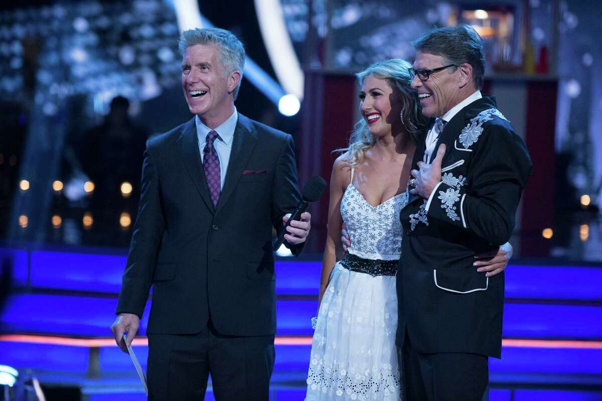 """DANCING WITH THE STARS - """"Episode 2301"""" - """"Dancing with the Stars"""" is back with its most dynamic cast yet and ready to hit the ballroom floor. The competition begins with the two-hour season premiere, live, MONDAY, SEPTEMBER 12 (8:00-10:01 p.m. EDT), on the ABC Television Network. (ABC/Eric McCandless) TOM BERGERON, EMMA SLATER, RICK PERRY"""