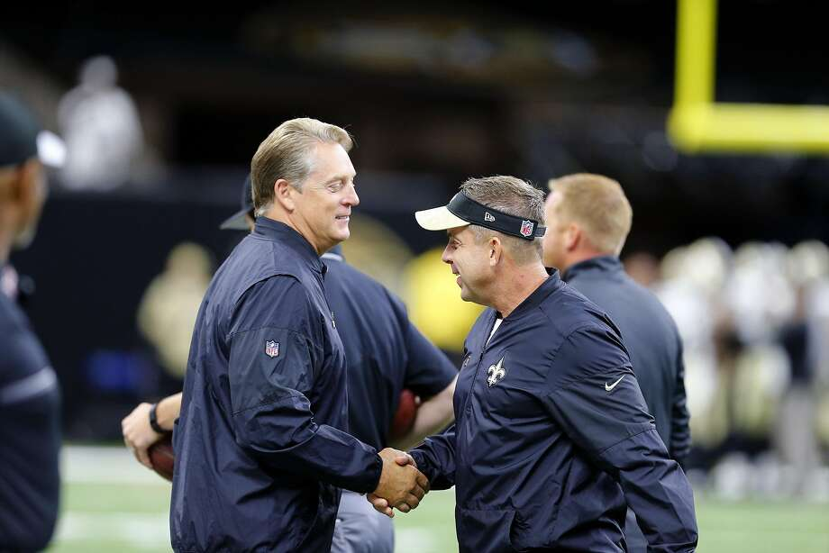New Orleans Saints head coach Sean Payton, right, greets Oakland Raiders head coach Jack Del Rio before an NFL football game in New Orleans, Sunday, Sept. 11, 2016. Photo: Butch Dill, Associated Press