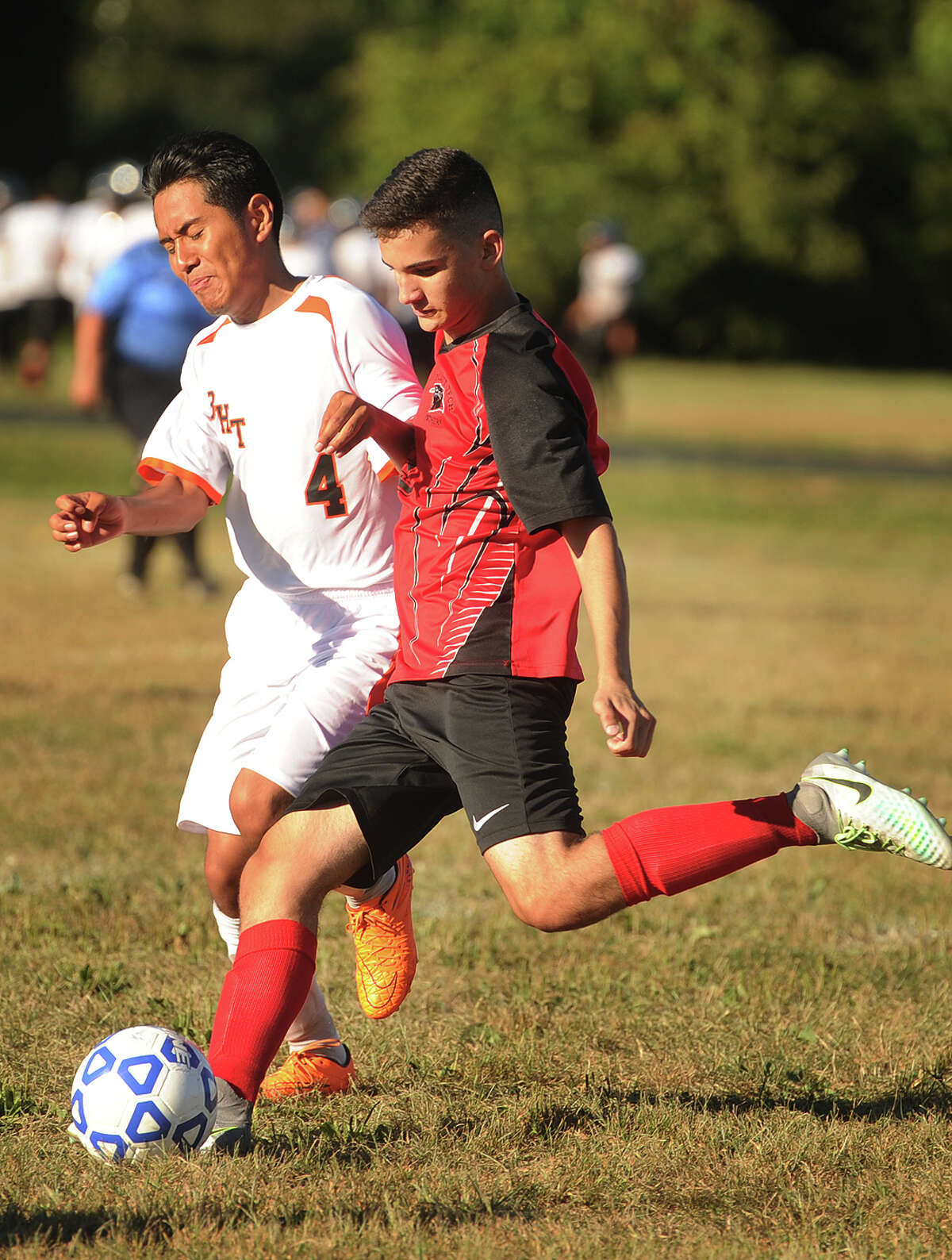 Bullard Havens' Jerry Xochical, left, defends Platt Tech's Hazar Sahin during their soccer game at Bullard Havens Tech in Bridgeport, Conn. on Monday, September 12, 2016.